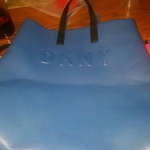 DKNY TOTE BAG COLLEGIATE BLUE BLACK STRAPS